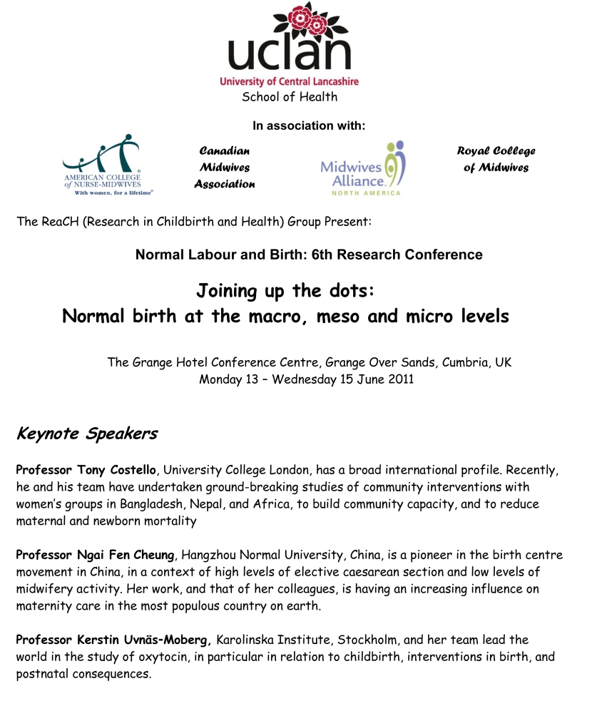 international birth conferennce series, uclan